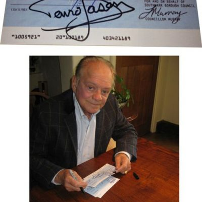 Councillor Murray Cheque Personally Signed By David Jason