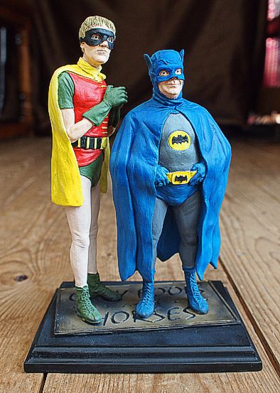 Batman and Robin Hand Painted Resin Figures